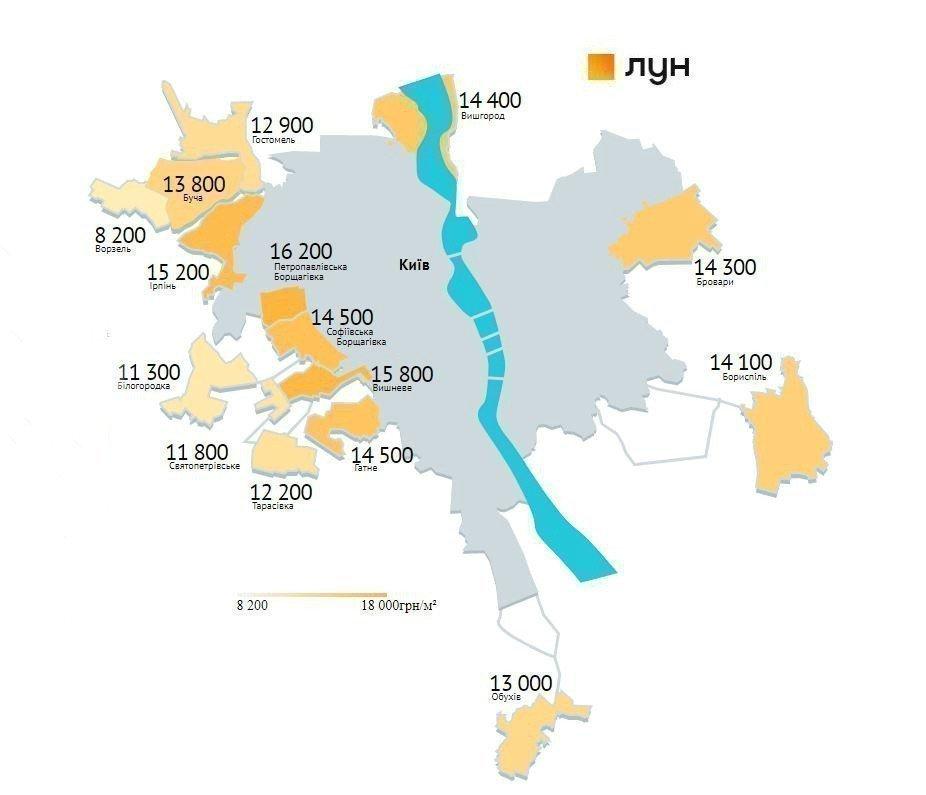 Картинка: Анализ цен в новостройках под Киевом за апрель
