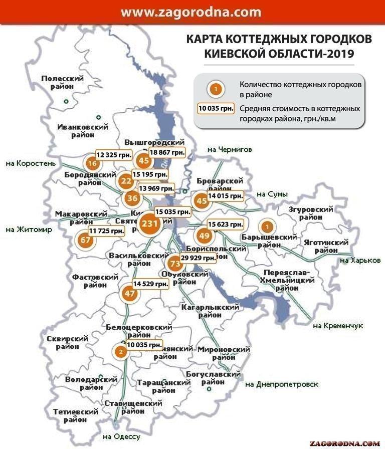 Картинка: Карта коттеджных городков Киевской области