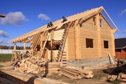 Картинка: строительство деревянного дома